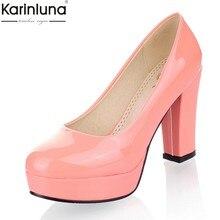 b9487b706 34-43 KarinLuna 2018 tamanho grande Primavera bombas de salto alto Sapatos  de Plataforma partido Mulher Sapatos da moda OL mulhe.