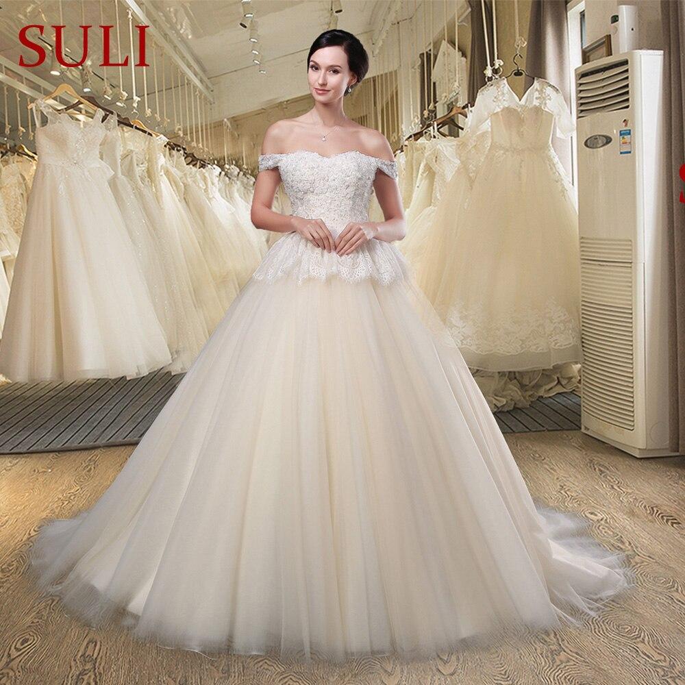 SL033 Elegant Sweetheart A-line Wedding Dresses Romantic Off the Shoulder  lace beaded princess Bridal 7c34cfdeb3bc