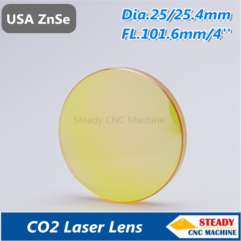 top quality USA ZnSe CO2 laser lens 25.4mm diameter 101.6mm focus length for laser engraver pvd znse co2 laser focus lens diameter 12mm focus length 25 4mm thickness 2mm