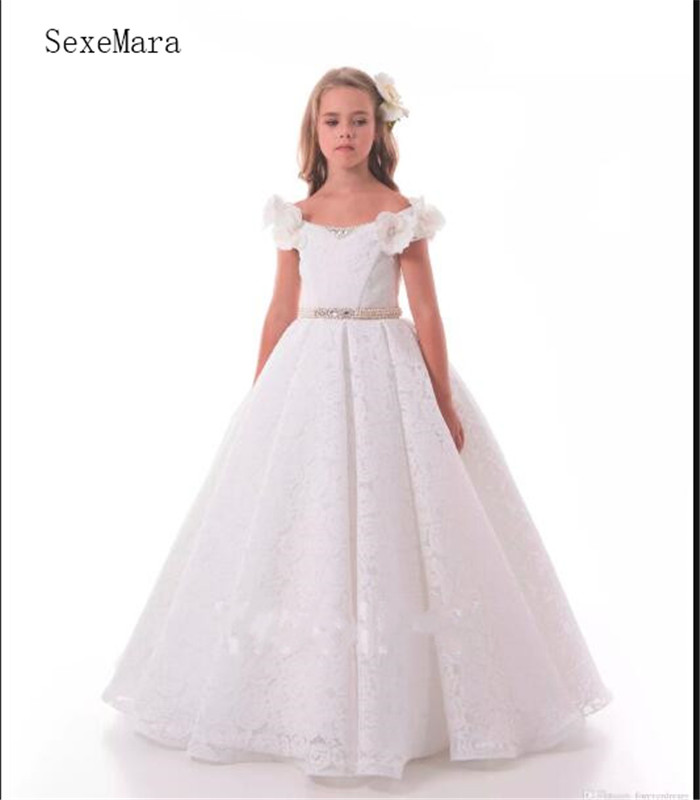 Lovely   Flower     Girl     Dresses   Pageant Gowns with White Lace Pearls birthday Holidays   Dresses   Custom SZ 2-14 First Communion Gowns