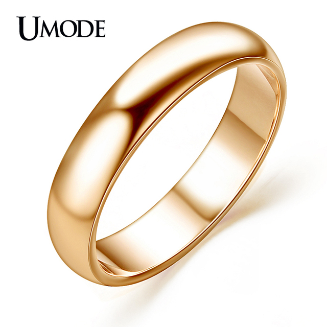 UMODE For Man And Woman Aneis Rose Gold Color Anillos Mujer Anelli High Polish Wedding Band