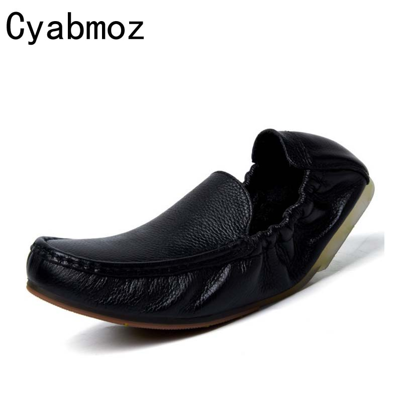 Cyabmoz Brand Genuine Leather Men Shoes Soft Moccasins Loafers shoes Fashion Men Flats Comfy Driving Shoes Egg Roll Peas Shoes