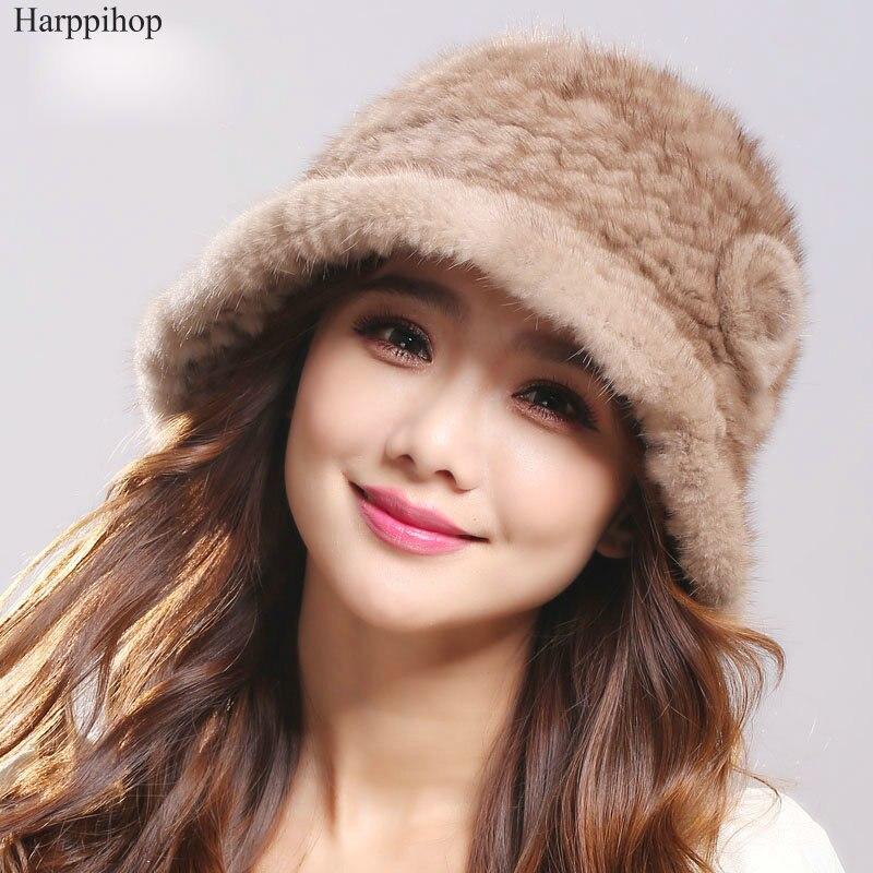 2017 Women Winter Fur natural  Genuine Mink Fur Hat Knitted Mink Fur buckets hats Caps High Quality Winter hats