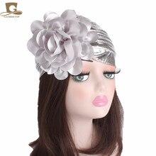 New fashion Womens luxury king Flower metallic Turban Beanie Hat Bonnet Chemo Cap Muslim Scarf Hijab Islamic Turbante