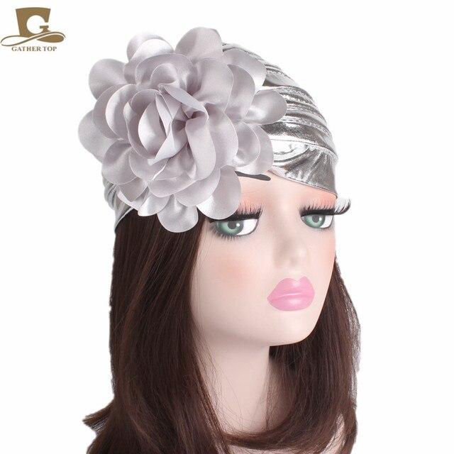 ใหม่แฟชั่นผู้หญิงหรูหรา king ดอกไม้ metallic Turban หมวกหมวก Bonnet Chemo หมวกมุสลิมผ้าพันคอ Hijab อิสลาม Turbante