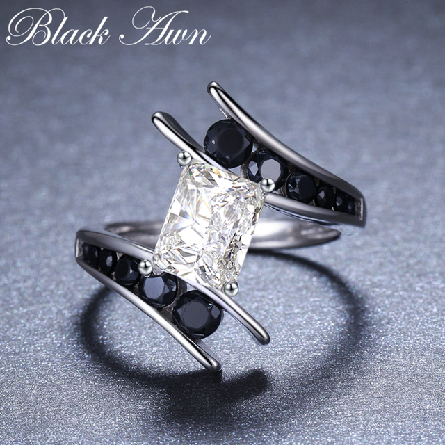 [BLACK AWN] Fine Jewelry 3.9 Gram 100% Genuine 925 Sterling Silver Row Black Stone Engagement Rings for Women Bague C299 2