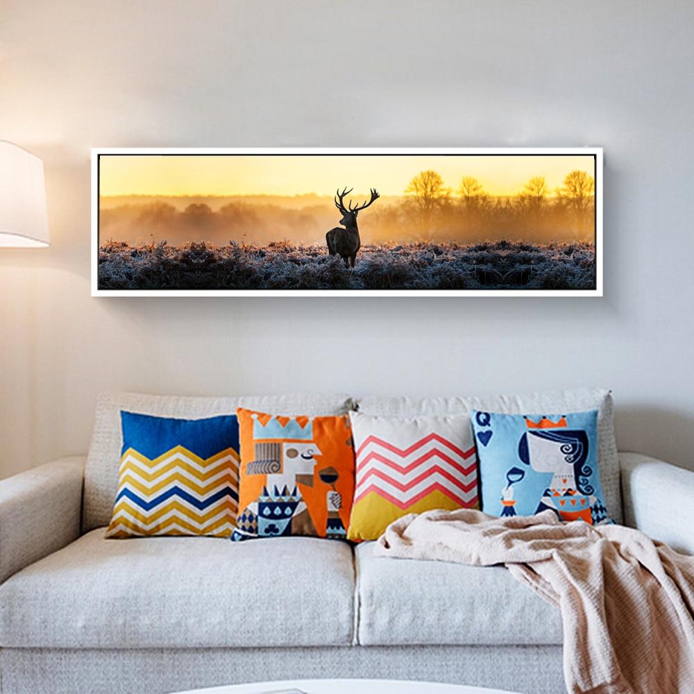 Canvas Print Long Painting Of Deer Poster Modern Wall Art
