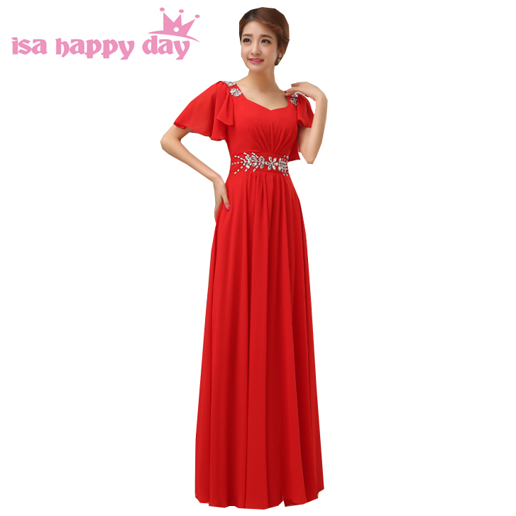 black a-line chiffon cap sleeve floor-length v-neck red women elegant long   bridesmaid     dresses   2019 new fashion summer H2259