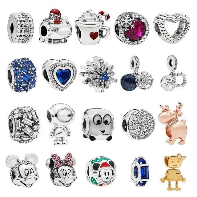 925 sterling Silver Dangle Charm Fits Pandora Charm Bracelet Warm Cocoa Reindeer Fireworks DIY Making Jewelry 2018 Winter