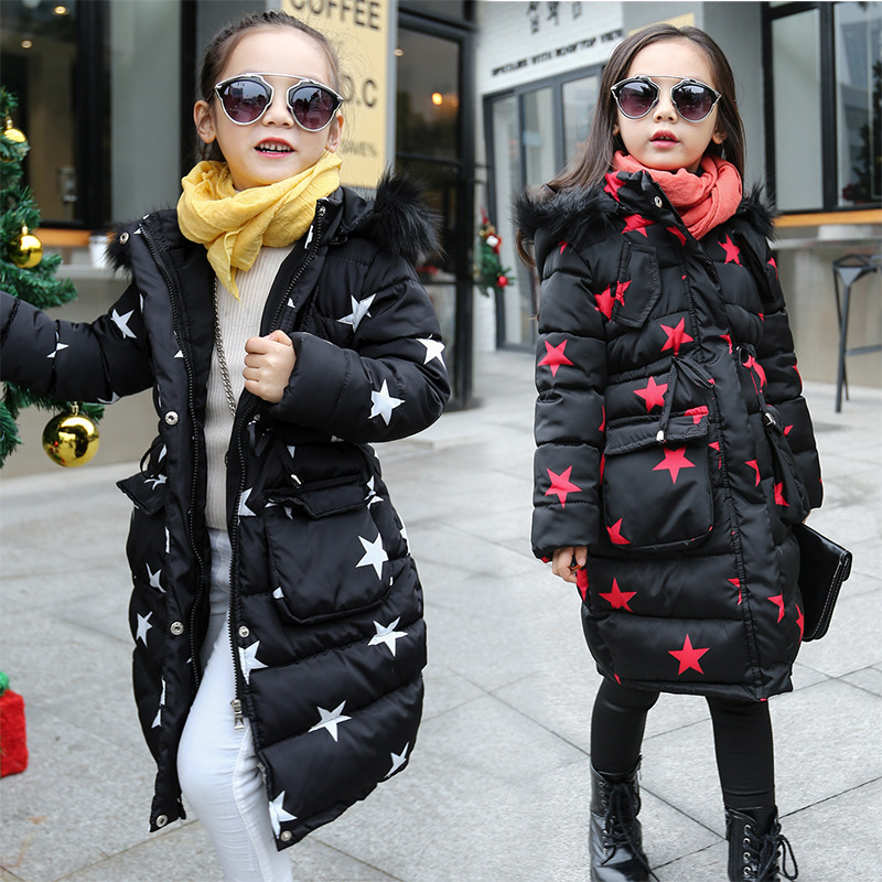 Girls Winter Long Coat 2018 Kids Cotton Padded Jacket Thicken Warm Winter Parkas Girls Clothes Stars Print Children Outerwear high quality 37ml stainless steel density specific gravity cups with din 53217 iso 2811 and bs 3900 a19 standard