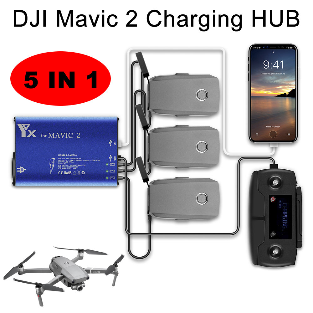DJI Mavic 2 Pro Zoom Battery Charger 5 in 1 Charging Hub for Mavic 2 Drone Remote Controller Phone Battery Manager with USB dji phantom 3 battery charging hub power management for phantom3 series charger original accessories