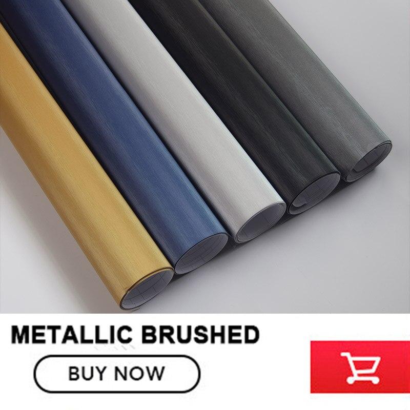 Titane Gris Aluminium Brossé Enveloppe de Vinyle De Voiture Wrap Métal Film Avec la Bulle Libre 1.52x30 m/rouleau prix d'usine en gros - 4