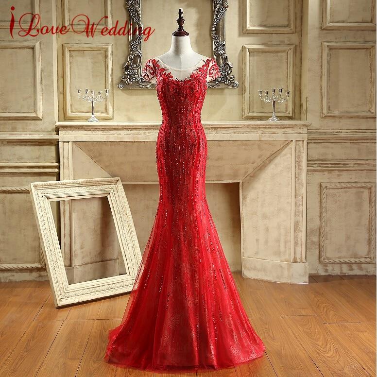 Nueva caliente rojo largo sirena vestido de fiesta 2017 sexy Cap manga cremallera trasera vestidos de noche Encaje appliqued vestidos partido Vestidos