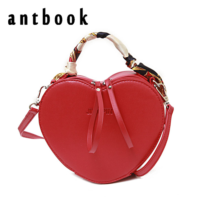 ANTBOOK Fashion Women Messenger Bags Solid Heart Pu Leather Handbags Girls Shoulder Bags Crossbody Bag For Women Bags bolsas glitter sequins women pu chain handbags messenger crossbody bags party shoulder sling bags fashion girls shinning clutch bags