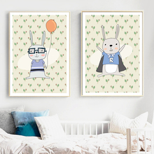 Rabbit Superhero Balloon Nursery Art Prints Wall Art Canvas Painting Nordic Posters And Prints Wall Pictures For Kids Room Decor цена и фото