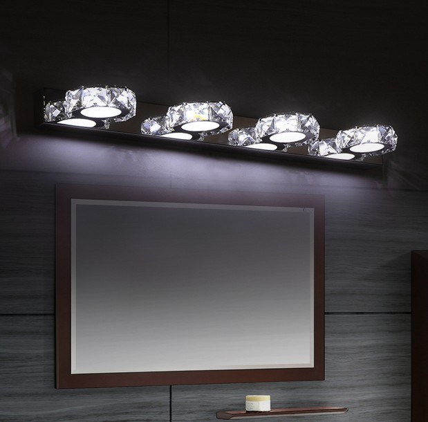 Fashion Modern Bathroom Mirror Wall Sconce Crystal Wall Lamp LED Wall Lights For Home Indoor Lighting Lampe Murale Lampara new design nature white 2heads 6w 30cm led modern crystal wall lights lamp sconce factory wholesale led lightings