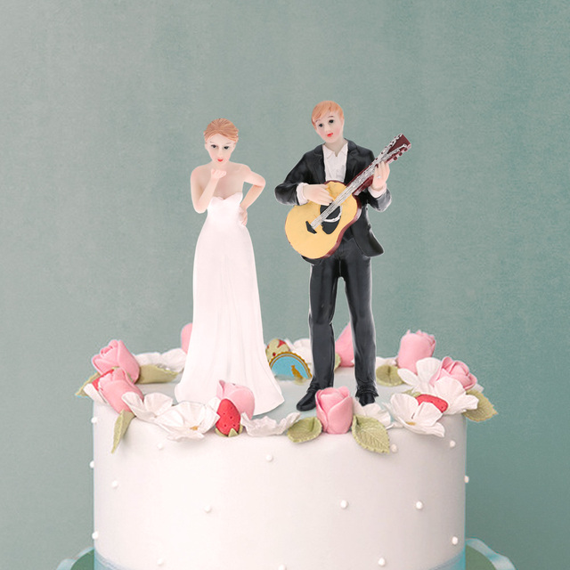 Resin Bride Groom Wedding Cake Topper Romantic Party Decoration Football Guitar Figurine