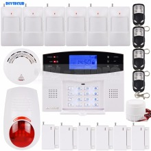 DIYSECUR LCD Wireless & Wired GSM SMS Home Security Alarm System + Wireless Flash Siren + Smoke Sensor