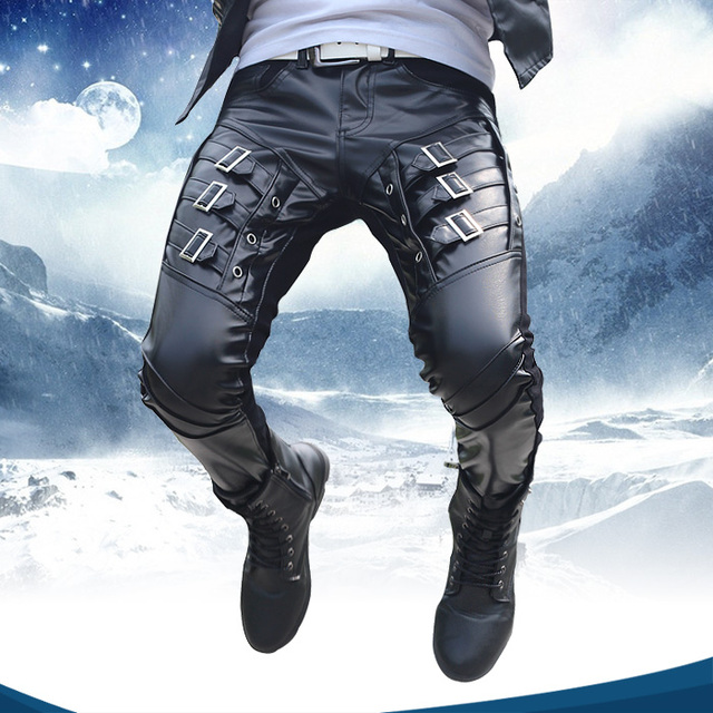 Autumn Winter New fashion Brand Casual Hip Hop Sequined male slim PU Faux Leather patchwork Trousers mens skinny pants