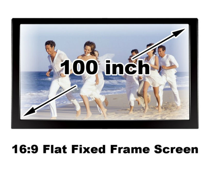 Good View HD 100 Inch Brightness Black Velevt Flat Fixed Frame Screen Projector DIY Projection Manual Screens16:9 Home Cinema 3D good gain cinema projection screen 16 9 curved fixed frame projector screens 120 inch hd matt white suit for 3d cinema display