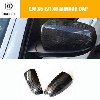E70 E71 Carbon Fiber ADD ON & Replaced Style Rear View Side Mirror Cover Cap for BMW E70 X5 E71 X6 2007 - 2013 ( not fit M ) image