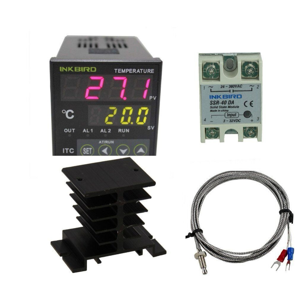 Inkbird AC 100 - 220V ITC-100VH Digital PID Thermostat Temperature Controller, DA 40A SSR, Black Heat Sink with K Thermocouple e5en yr40k 3 digit led digital temperature controller thermostat ac 220v