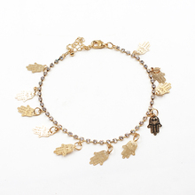 New Women Character Ankle Bracelet Chain Palms Rhinestone Initial Bangle Anklet Fashion Women Jewelry Gift Summer Style 085