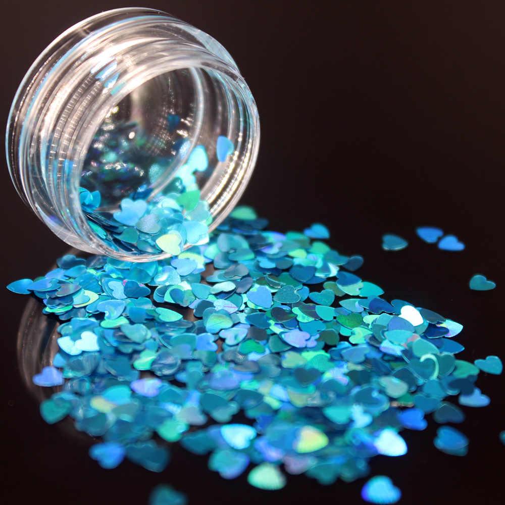LOLEDEลึกสีชมพูสีเล็บเล็บเล็บArt Glitter Flakes UV Gel Starหัวใจดอกไม้Pailletteเครื่องมือตกแต่งรูปหัวใจ