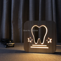 Wooden LED tooth hollow design night lamp warm light USB power lamp as creative gift or home hotel club decoration