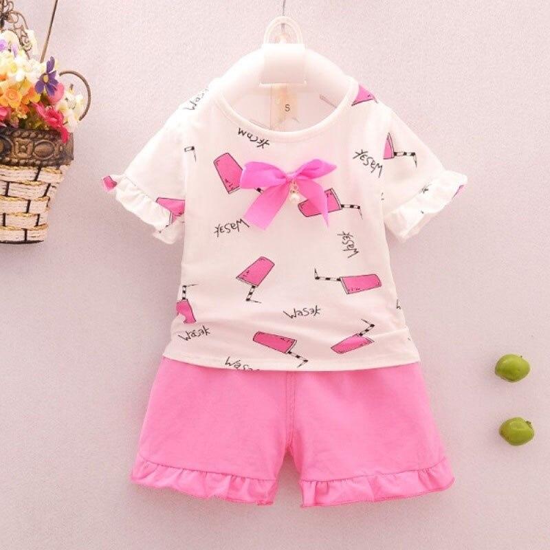 Summer Top+ Pant 2pcs Infant Clothing Cartoon Bownot Cute Drink Print Set Newborn Solid Sleeveless kids Baby Girl Set Clothes