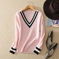 Las mujeres de cachemira pura suéter slim-fit con blanco puño raya y raya blanca Con Cuello En V