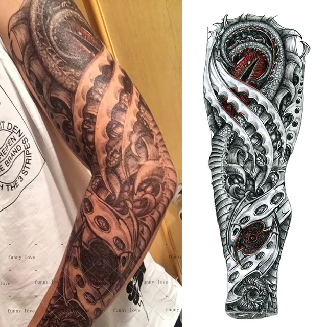 3a765c3500c29 Full Arm Temporary tattoo waterproof cool grey black dragon mechanical fake  tattoos 3D large size 48