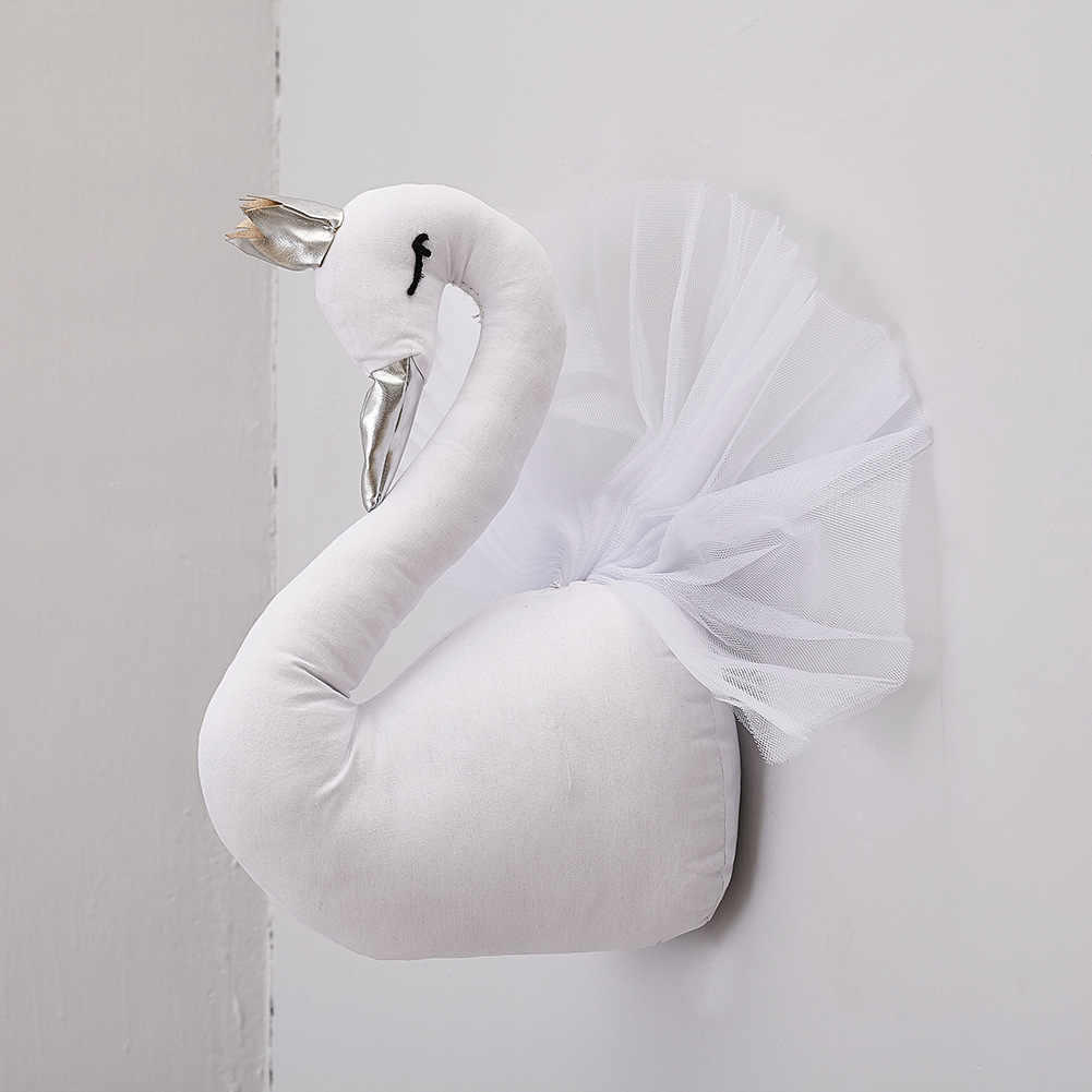 Лебедь настенное крепление, набитое в виде голов животных для детской комнаты, Настенный декор для детской комнаты, подвесной декор, детские игрушки для девочек, тканевая кукла, подарок