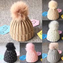 985bd82b Newborn Kids Baby Boys Girl Beaded Stretch Pom Hats Cap Beanie Skull Toddler  Girl Winter Warm Crochet Knitted Bobble Beanies Cap