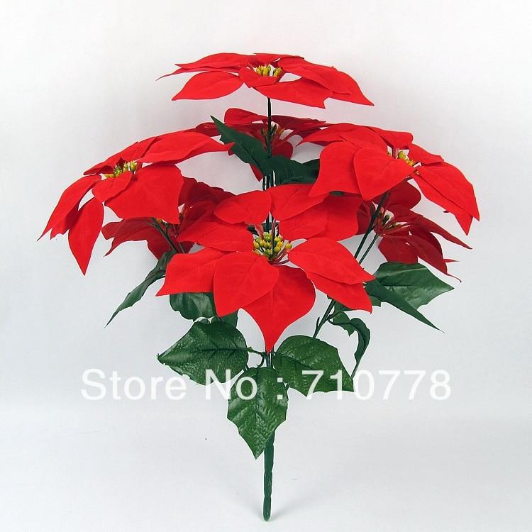 5pcs 7forks Artificial Fabric Silk Flowers Plastic Flower Christmas
