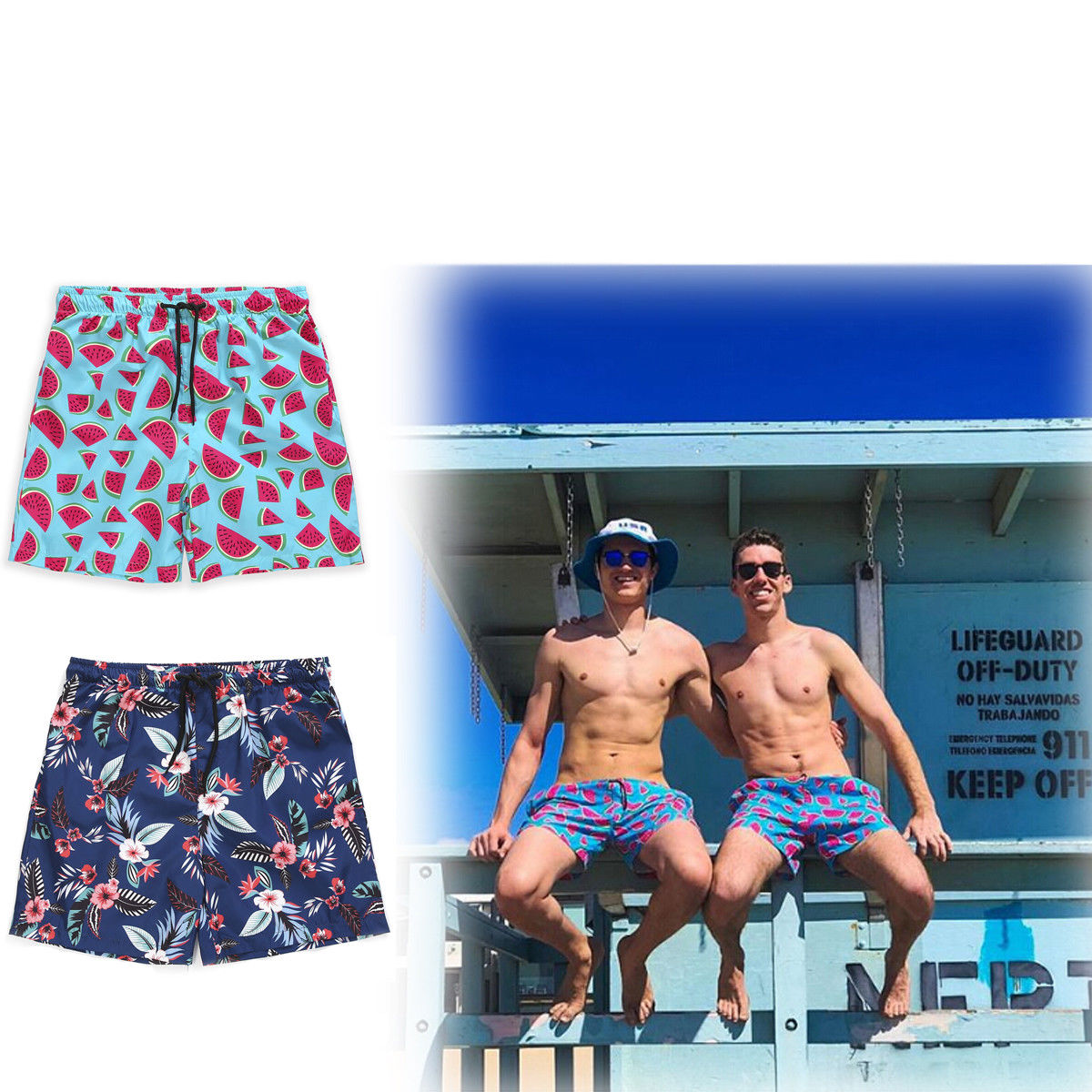 Mens Boardshorts Polyester Surf Board Shorts Swim Wear Beach Sports Trunks Pants