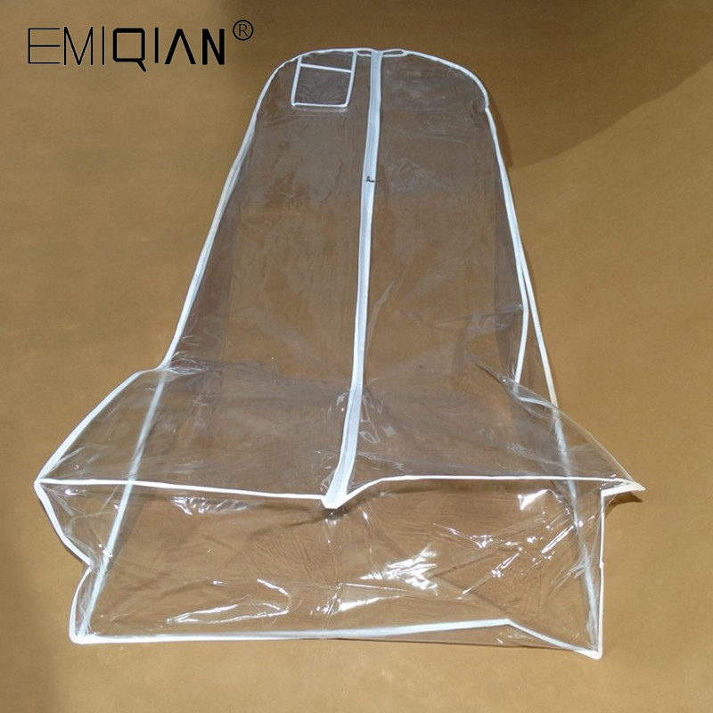 Length 180cm Wholesale Transparent Wedding Dress Dust Cover Extra Large Waterproof PVC Solid Evening Clothing Garment Bags