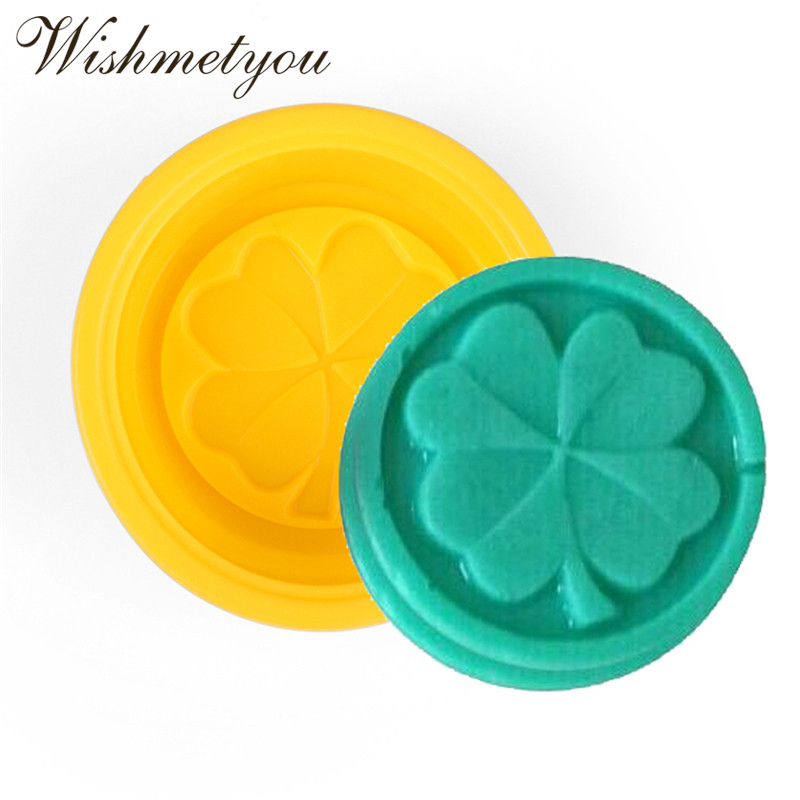 WISHMETYOU 3D Four Leaf Clover Pattern Silicone Soap Moulds Stereoscopic Sense Cake Decorating Tools Handmade DIY Pudding Mold