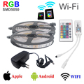 300LEDs 2*5m/roll 12V SMD 5050 RGB strip led Light +led wifi controller support Android IOS system Touchable+4A power Adapter