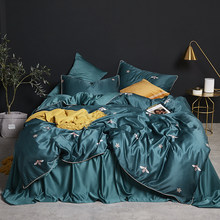 4pcs Seta Lavata Breve Stile Letto Copripiumino Letto Copriletto Federa Solido Verde Scuro Busy Bee Red White Wave punto di Foglia(China)