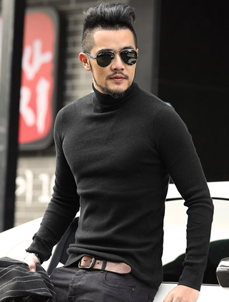 Wholesale cheap men gender -men's black wool turtleneck sweater slim fit solid knit cashmere pullovers % acrylic sweaters men brand clothing from Chinese men's sweaters supplier - bmw2 on .