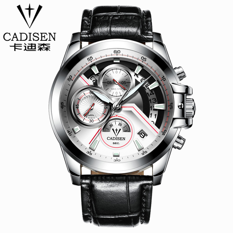 CADISEN Military Sport Quartz Watch Men Luxury Brand Casual Watches Men's Wristwatch army Clock men leather relogio masculino liebig luxury brand sport men watch quartz fashion casual wristwatch military army leather band watches relogio masculino 1016