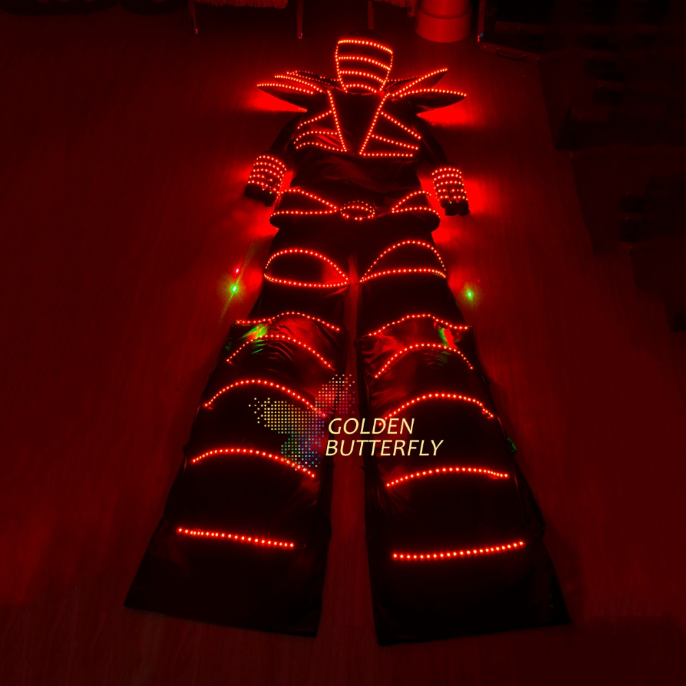 LED Clothing Luminous Costumes Glowing Robot Stilts Clothes Fashion Talent Show Men's Suit Ballroom Accessories Free Shipping