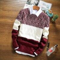 Mens Sweaters 2017 Autumn Winter New Sweater Men O Neck Solid Slim 100 Cotton Fit Men