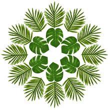 24 Pcs Tropical Palm Leaves Luau Party Decoration Artificial Simulation Tropical Monstera Plant Leaves for Hawaiian Safari Jun