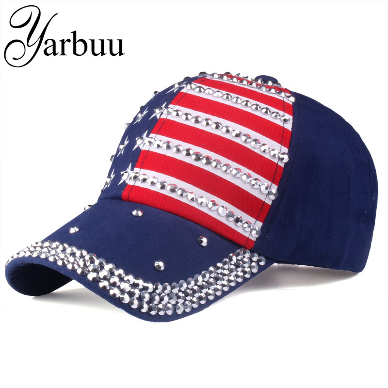[YARBUU] O chapéu Para mulheres dos homens bonés de Beisebol 2018 da moda da bandeira Americana Do algodão ajustável cap estrela strass cap Denim chapéu