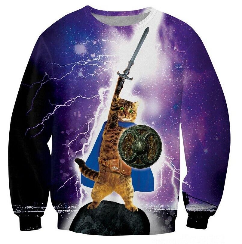 4fd9d66a9 New Fashion Cute Epic Cat 3D Sweatshirt Jumper Warrior Cat Play Lightning  in Space Galaxy Hoodies Crewneck Pullovers Outerwear