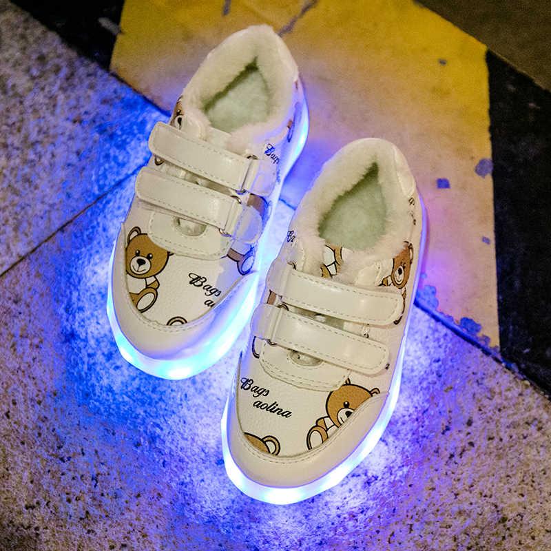 เด็กใหม่แสงเรืองแสงรองเท้าชาร์จ USB รองเท้า led สีสัน led เด็กแฟลชรองเท้าผ้าใบสาวเด็กทารกรองเท้าส่องสว่าง C337