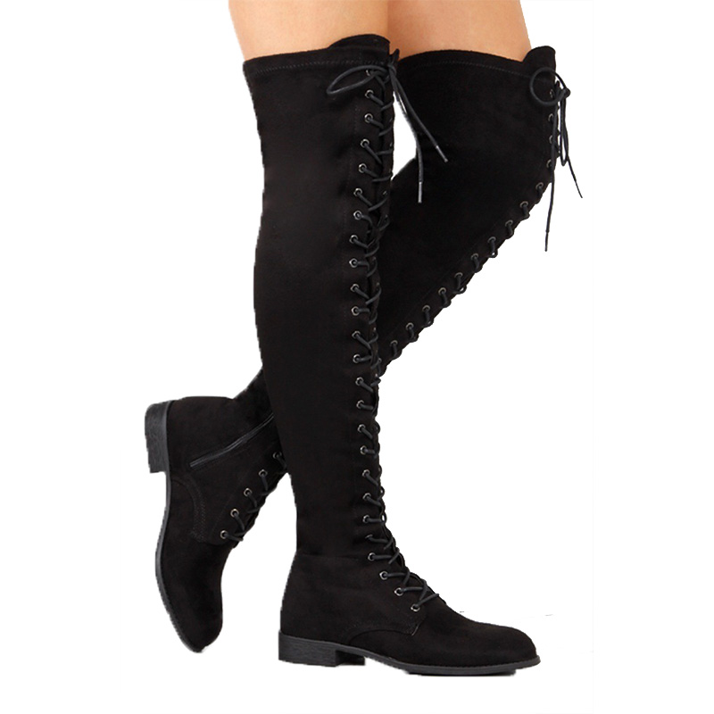 Cross Tied Over The Knee Boots Plus Size 43 Knee High Boots Thigh High Boots Female Autumn Shoes For Women Winter High Boots plus size criss cross high low tee