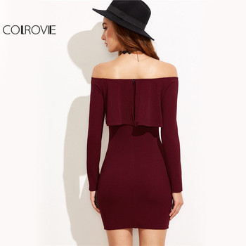 COLROVIE Long Sleeve Mini Dress Womens Autumn Winter Dresses Women Sexy Party Burgundy Off Shoulder Ruffle Bodycon Dress 1